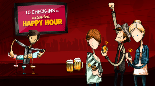 10 check-ins to extend happy hour